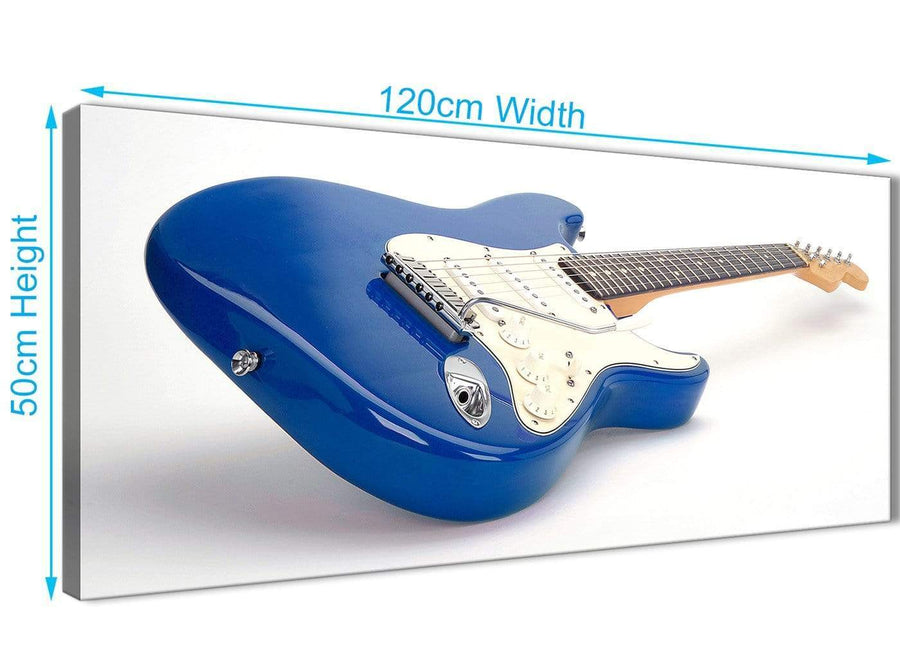 Cheap Blue White Fender Electric Guitar - Bedroom Canvas Wall Art Accessories - 1447 - 120cm Print