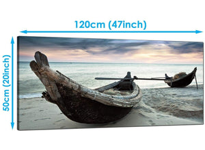 Bedroom Blue Panoramic Canvas of Beach Thailand Boats