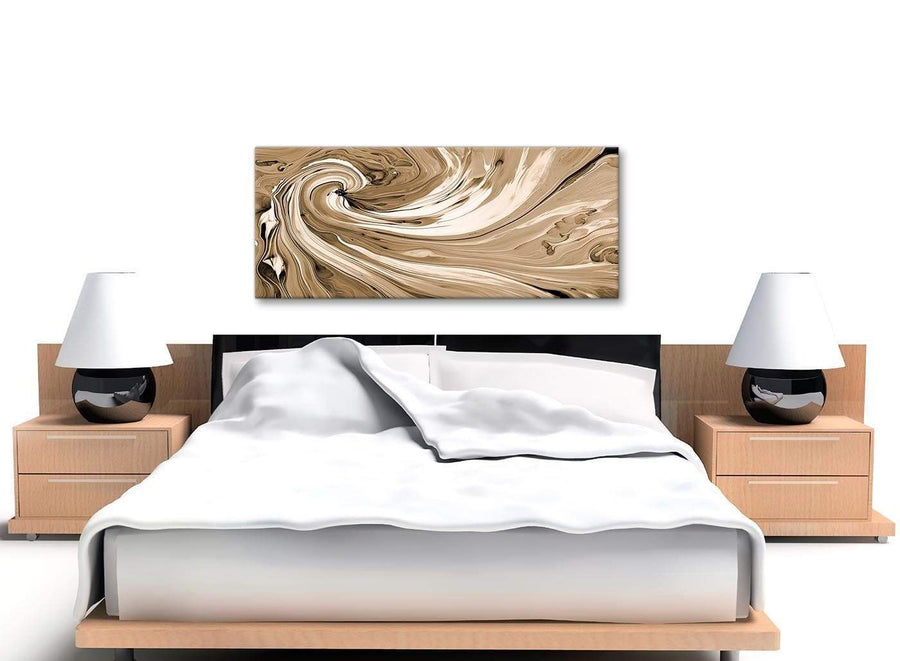 Cheap Brown Cream Swirls Modern Abstract Canvas Wall Art Modern 120cm Wide 1349 For Your Kitchen