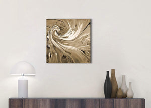 Cheap Brown Cream Swirls Modern Abstract Canvas Wall Art Modern 49cm Square 1S349S For Your Kitchen