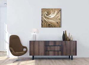 Cheap Brown Cream Swirls Modern Abstract Canvas Wall Art Modern 64cm Square 1S349M For Your Dining Room