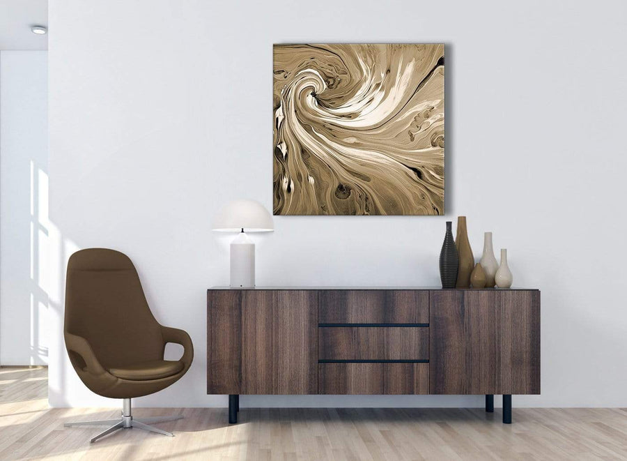 Cheap Brown Cream Swirls Modern Abstract Canvas Wall Art Modern 79cm Square 1S349L For Your Dining Room