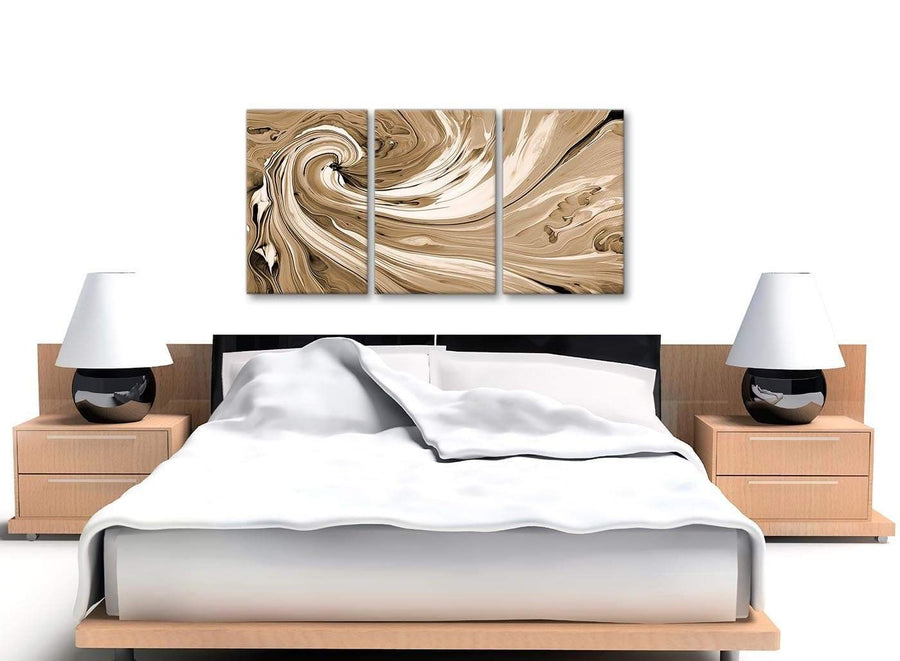 Cheap Brown Cream Swirls Modern Abstract Canvas Wall Art Split 3 Panel 125cm Wide 3349 For Your Kitchen