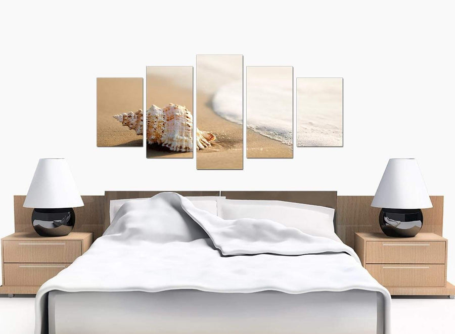 Set Of Five Modern Beige Canvas Picture