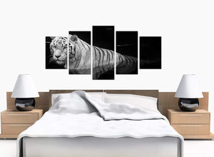 5 Panel Set of Large Black White Canvas Picture
