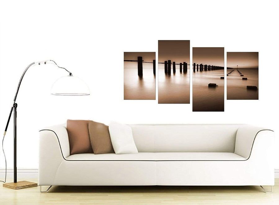 Brown Beige Coloured Beach Scene Landscape Canvas