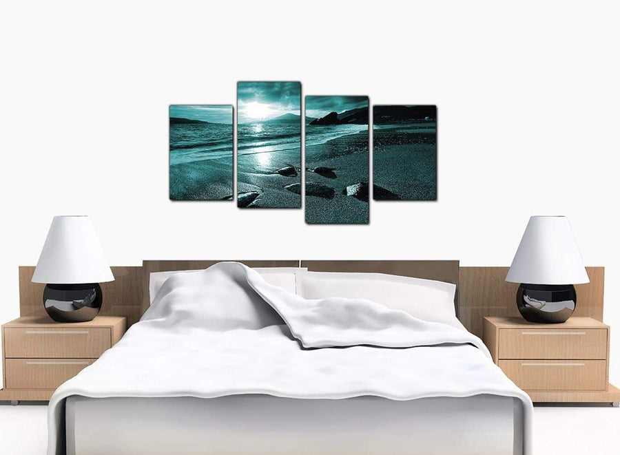 4 Part Set of Large Teal Canvas Picture