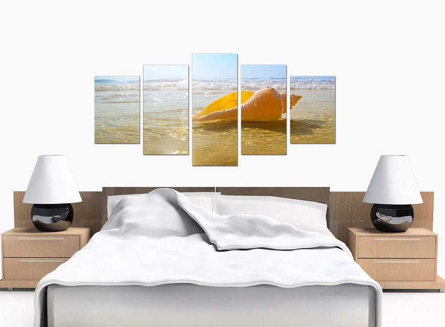 Set Of Five Large Blue Canvas Pictures