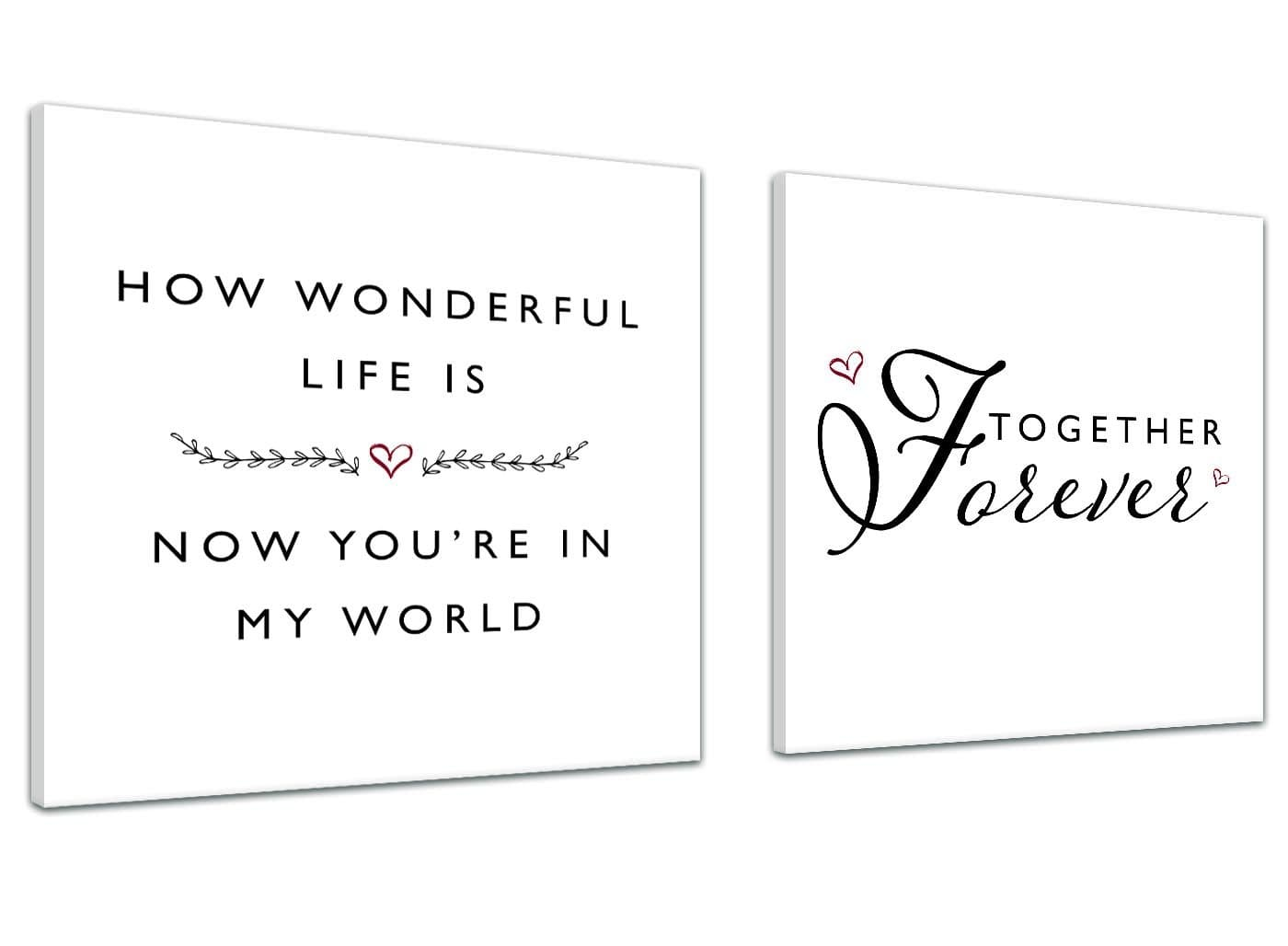 Canvas Prints How Wonderful Life Is Love Word Art 2s478s Pair Of 49cm Square Wall Art Wallfillers Co Uk