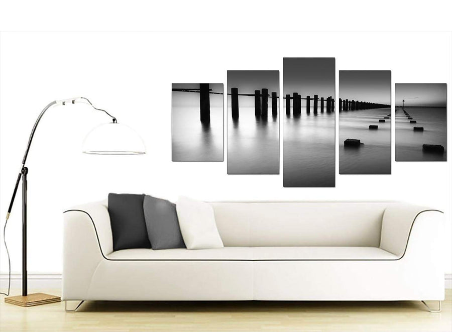 Modern Black White Beach Scenery Landscape Canvas