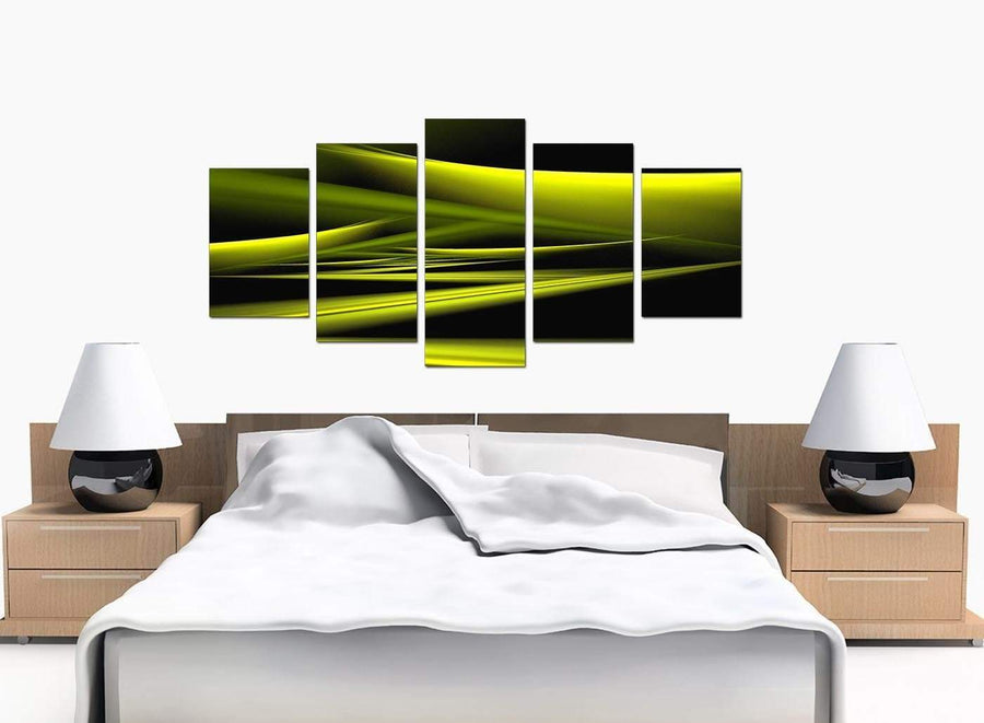 Five Part Set of Large Lime Green Canvas Art
