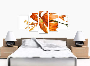 5 Panel Set of Bedroom Orange Canvas Art