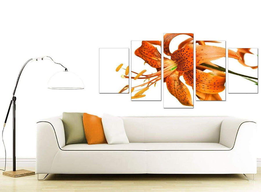 Orange White Tiger Lily Flower Floral Canvas