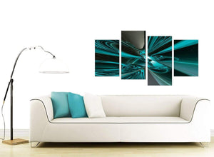 Modern Teal and Grey Cyclone Abstract Canvas