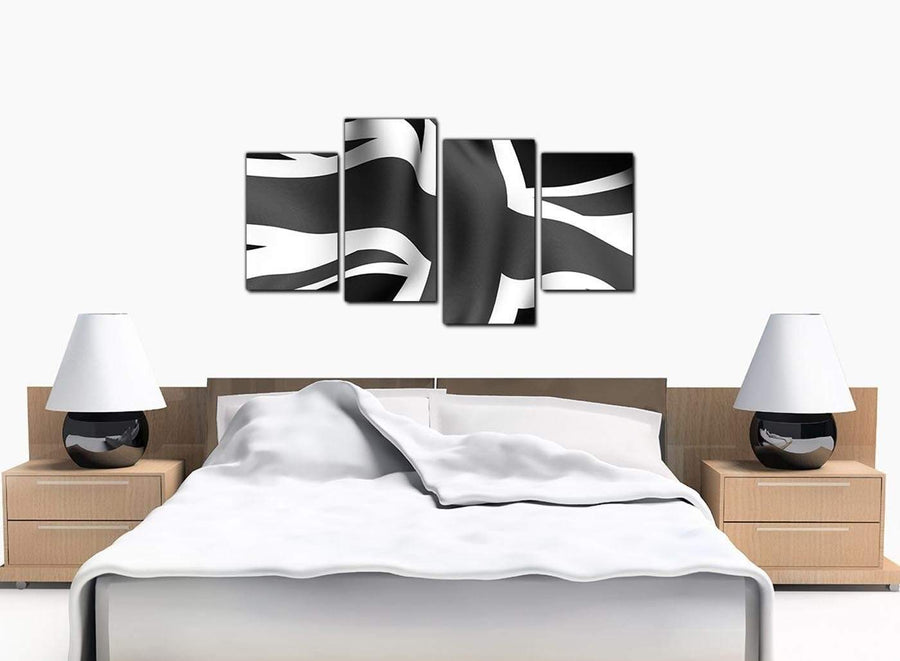 4 Panel Set of Bedroom Black White Canvas Picture