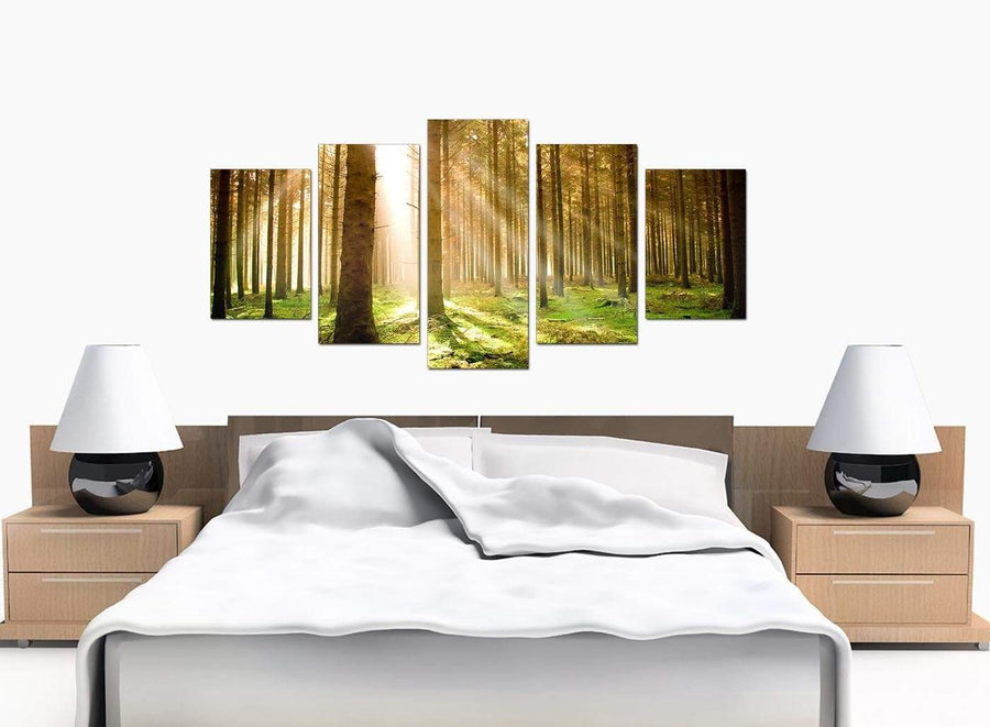 Set Of 5 Bedroom Green Canvas Wall Art