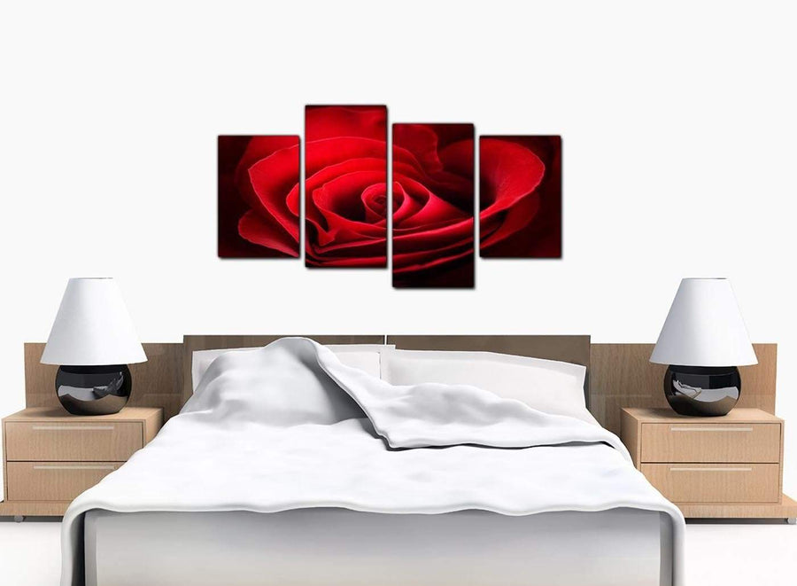 Set Of Four Large Red Canvas Art