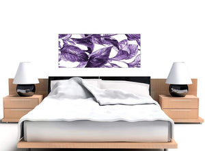 Cheap Dark Purple White Tropical Exotic Leaves Canvas Modern 120cm Wide 1322 For Your Living Room