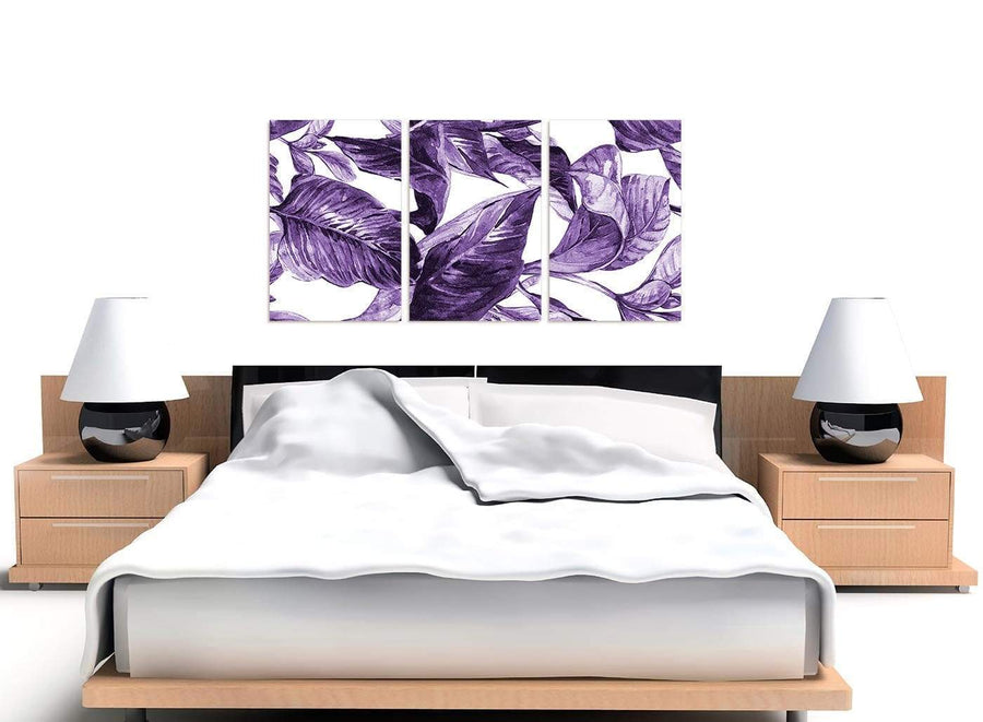 Cheap Dark Purple White Tropical Exotic Leaves Canvas Split 3 Part 3322 For Your Dining Room