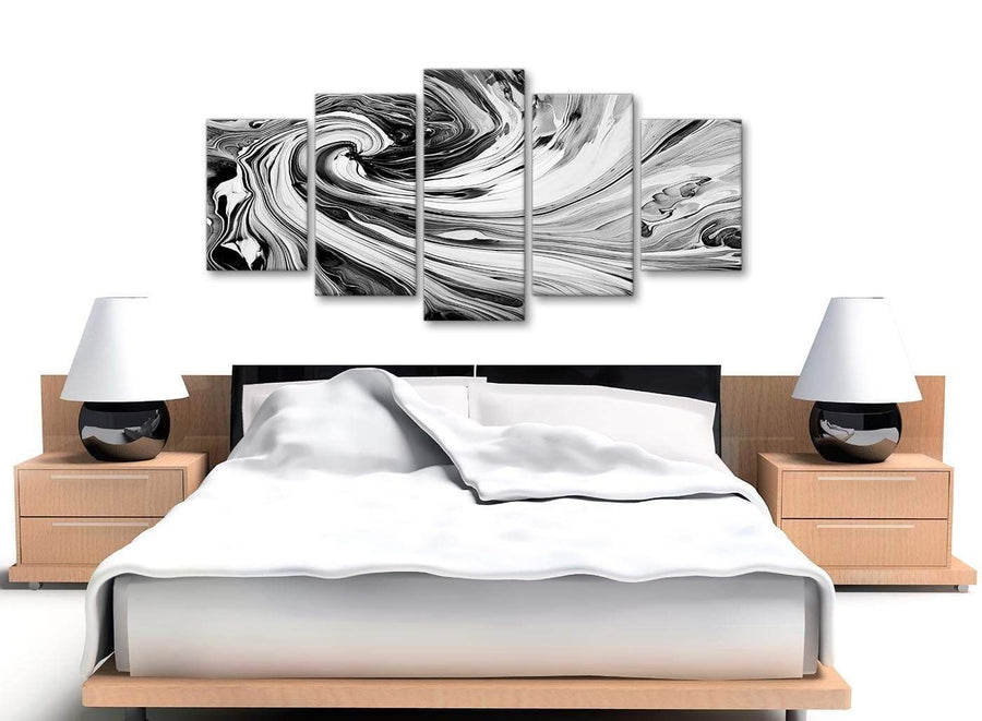 Cheap Extra Large Black White Grey Swirls Modern Abstract Canvas Wall Art Split 5 Piece 160cm Wide 5354 For Your Kitchen