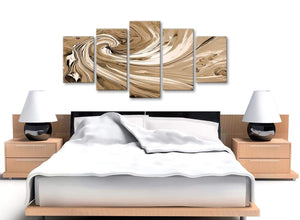 Cheap Extra Large Brown Cream Swirls Modern Abstract Canvas Wall Art Split 5 Panel 160cm Wide 5349 For Your Living Room