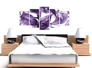 Cheap Extra Large Dark Purple White Tropical Exotic Leaves Canvas Split 5 Set 5322 For Your Living Room