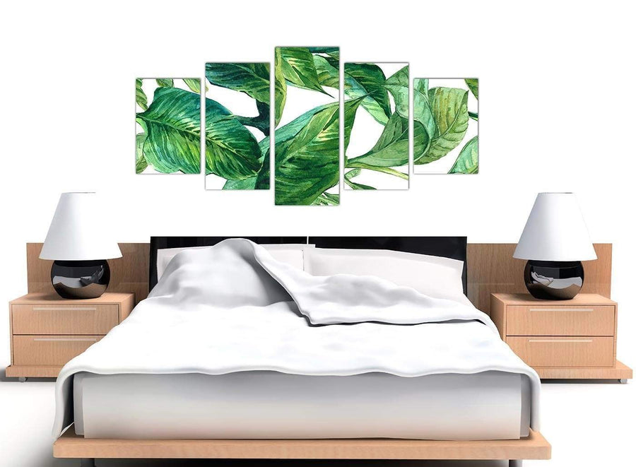 Cheap Extra Large Green Palm Tropical Banana Leaves Canvas Split 5 Panel 5324 For Your Living Room