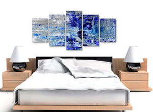 Cheap Extra Large Indigo Blue Grey Abstract Painting Wall Art Print Canvas Split 5 Set 160cm Wide 5358 For Your Living Room