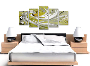 Cheap Extra Large Lime Green Swirls Modern Abstract Canvas Wall Art Multi 5 Panel 160cm Wide 5351 For Your Dining Room