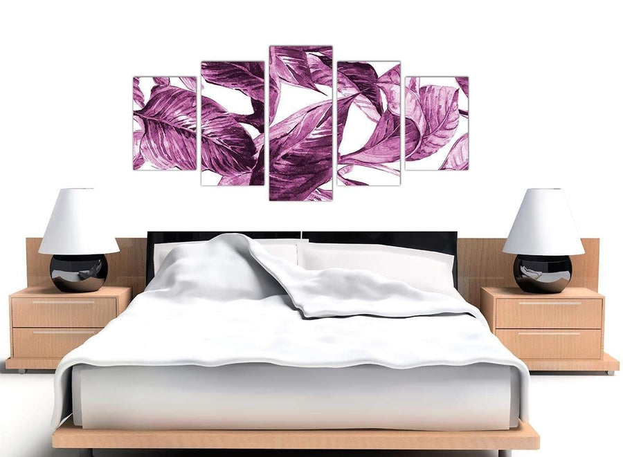 Cheap Extra Large Plum Aubergine White Tropical Leaves Canvas Multi 5 Set 5319 For Your Bedroom