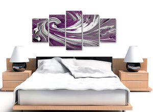 Cheap Extra Large Plum Purple White Swirls Modern Abstract Canvas Wall Art Split 5 Panel 160cm Wide 5353 For Your Bedroom