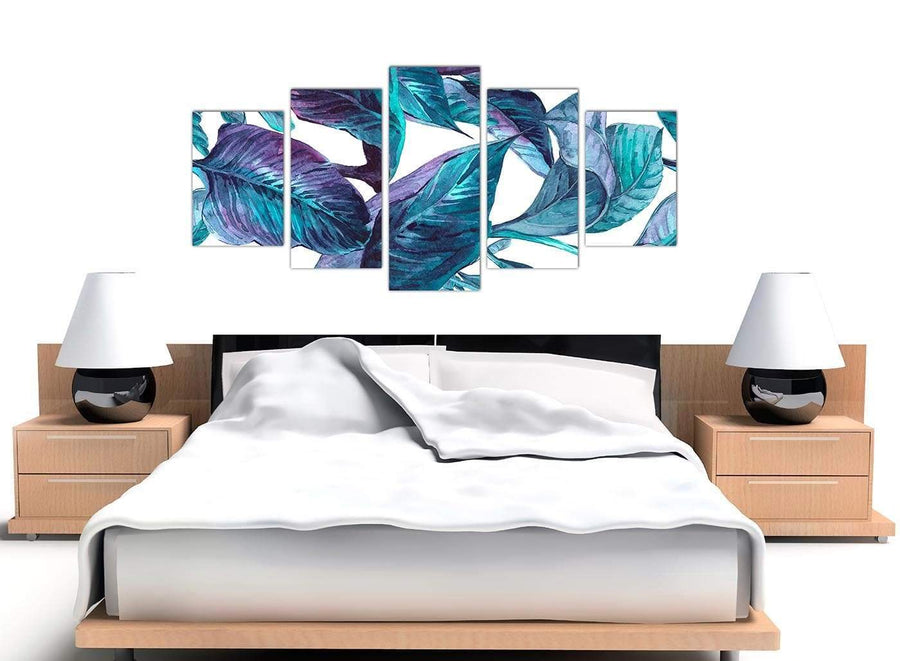 Cheap Extra Large Turquoise And White Tropical Leaves Canvas Split Set Of 5 5323 For Your Dining Room
