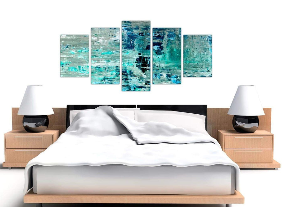 Cheap Extra Large Turquoise Teal Abstract Painting Wall Art Print Canvas Split Set Of 5 5333 For Your Living Room