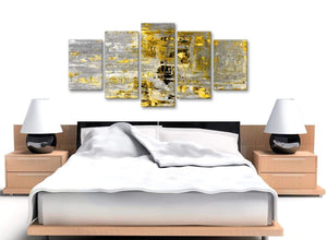 Cheap Extra Large Yellow Abstract Painting Wall Art Print Canvas Split 5 Panel 160cm Wide 5357 For Your Living Room