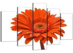 Five Panel Set of Extra-Large Orange Canvas Picture
