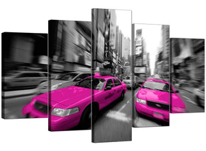 Five Panel Set of Living-Room Pink Canvas Pictures