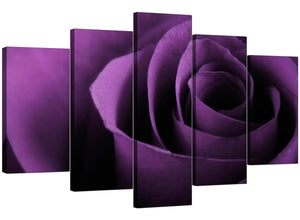Set Of 5 Living-Room Purple Canvas Pictures