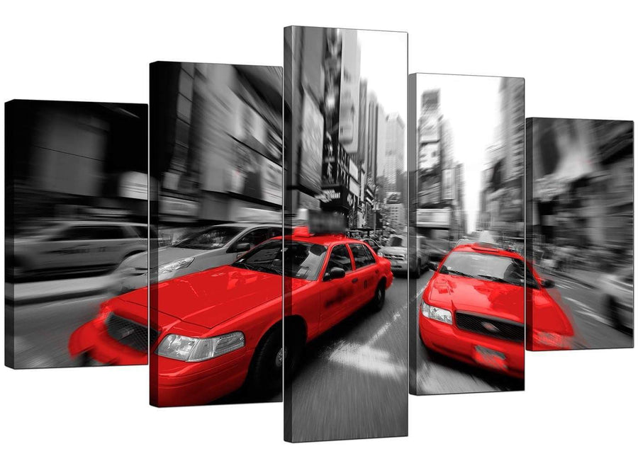 5 Piece Set of Living-Room Red Canvas Pictures