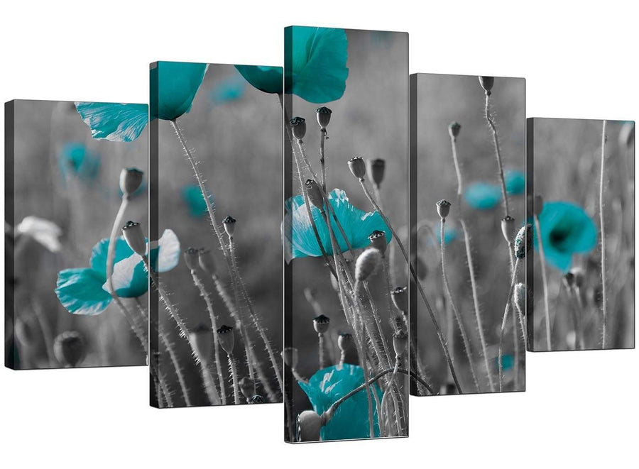 Five Part Set of Modern Teal Canvas Pictures