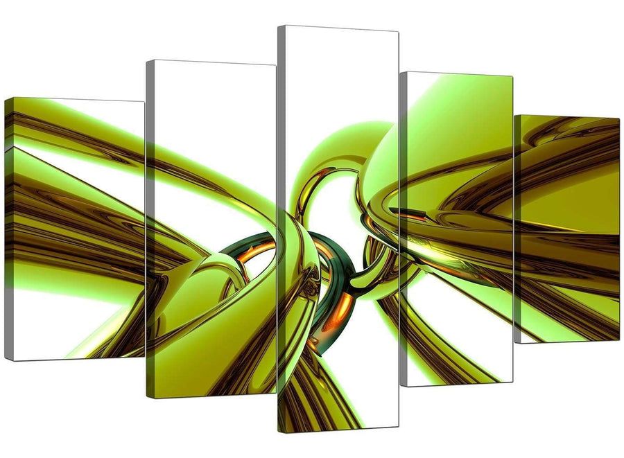 5 Panel Set of Living-Room Lime Green Canvas Wall Art
