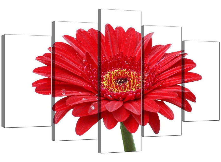 Set Of 5 Extra-Large Red Canvas Pictures