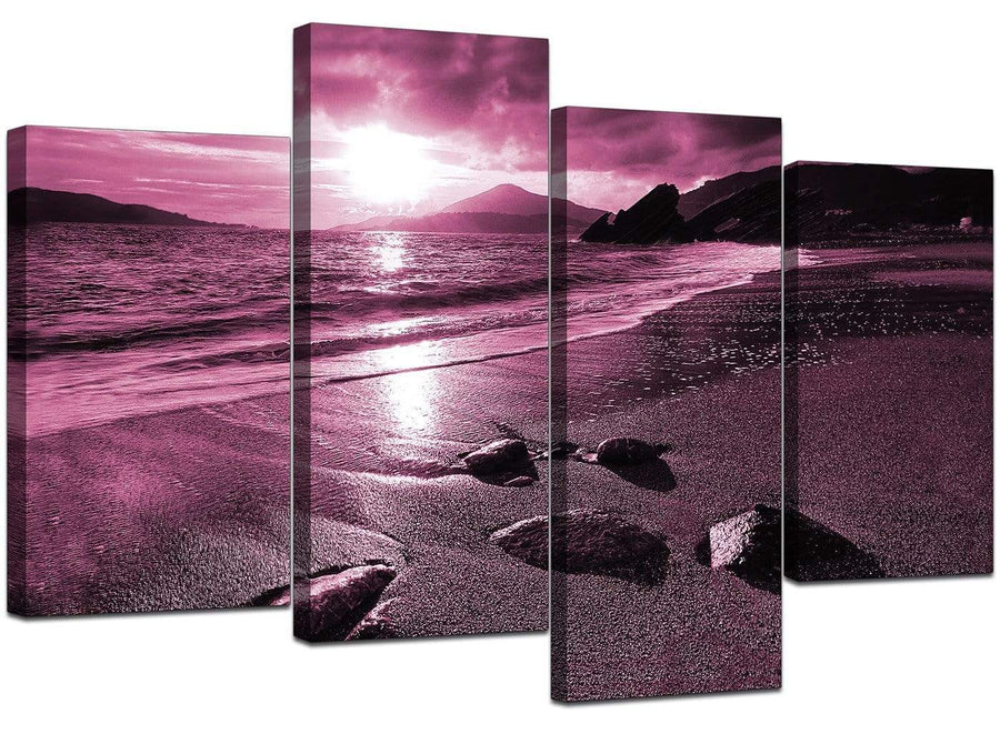 4 Part Set of Living-Room Plum Canvas Prints