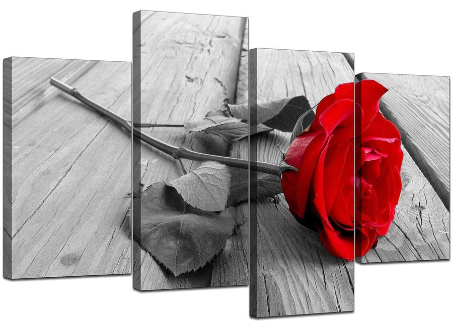 Set Of Four Living-Room Red Canvas Art
