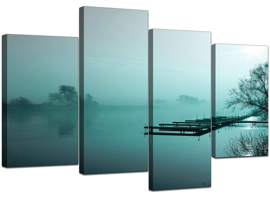 Four Panel Set of Modern Teal Canvas Picture