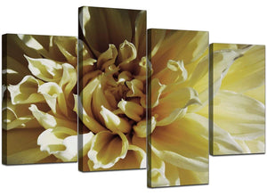 Four Part Set of Modern Cream Canvas Pictures