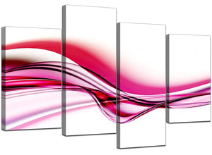 4 Panel Set of Extra-Large Pink Canvas Wall Art