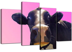 Four Panel Set of Living-Room Pink Canvas Wall Art