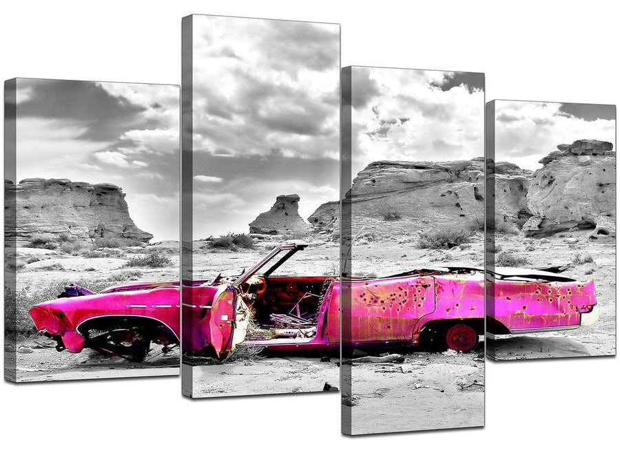 Four Panel Set of Living-Room Pink Canvas Pictures