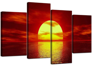 Four Part Set of Cheap Red Canvas Wall Art