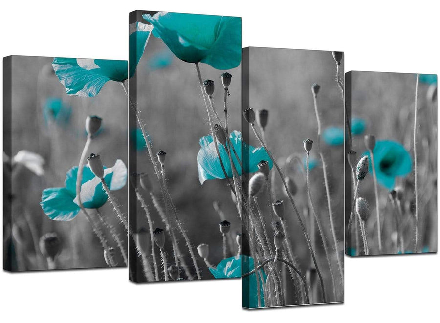 Four Panel Set of Living-Room Teal Canvas Picture